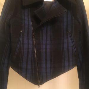 rag & bone royal blue & black wool moto jacket
